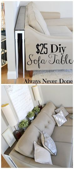 DIY Sofa Table for $25 using stair rails as legs. Makes it easy to access plugs behind the couch, too, so they don't go to waste. Could make a charging station on it as well.
