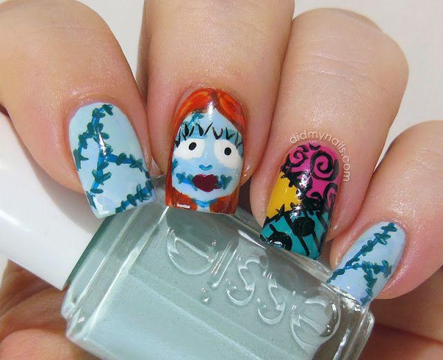 Sally Skellington Halloween nail art