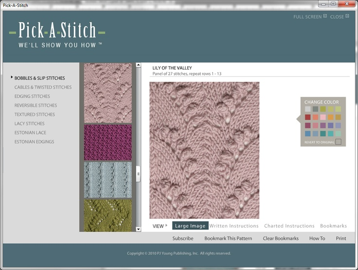 Pick-A-Stitch™, Digital Knitting Stitch Collection comes with more than 130 stitches in six different categories.  You're sure to find the perfect stitch for your project, plus you can add to your collection with our new stitch subscription service.  Over a dozen new stitches every month, downloaded directly into your library.