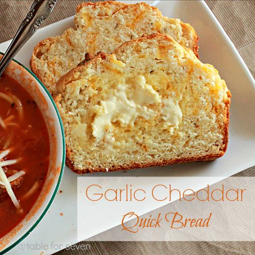 "table for seven: Garlic Cheddar Quick Bread - Pinner says, ""I'm going to use garlic salt next time I make this instead of garlic powder. I was craving some salt in it. Made it with lasagna and it was a hit!"""
