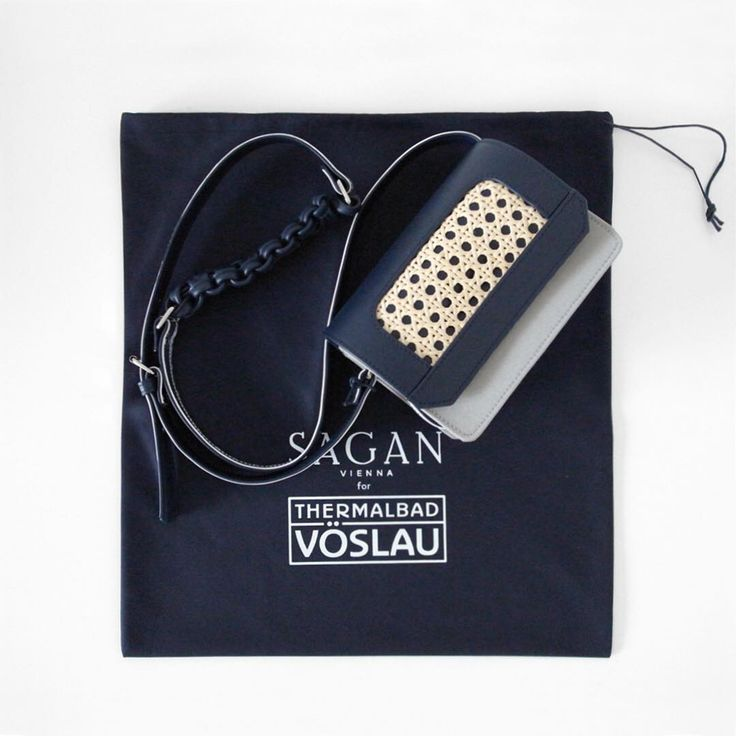 SAGAN Vienna new collaboration: Cross body bag in nano size, color navy-silver for Thermalbad Voeslau, Austria