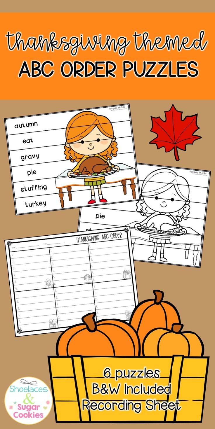 ABC Order Puzzles Thanksgiving Thanksgiving, Holiday