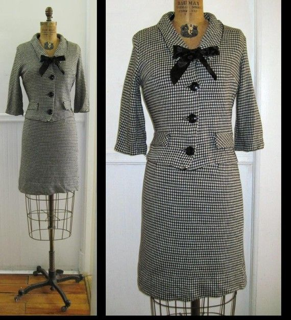 1960s MOD Black & White Houndstooth Suit