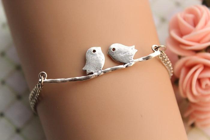 Bird bracelet,retro silver lover birds on the branch,alloy bracelet---B182.  via Etsy.
