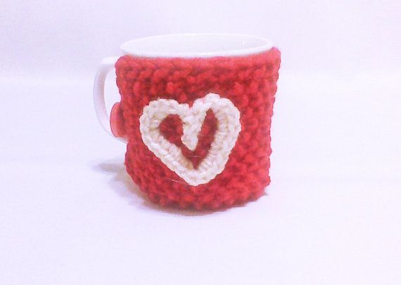 Hey, I found this really awesome Etsy listing at https://www.etsy.com/listing/174910025/red-coffee-cozy-with-white-crochet-heart