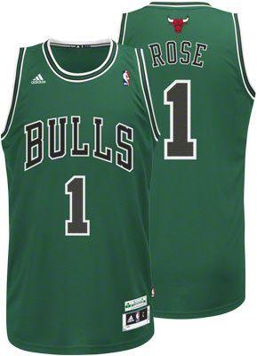 97f8fe0ff Derrick Rose St. Patrick s Day Chicago Bulls Adidas Swingman Jersey  89.99