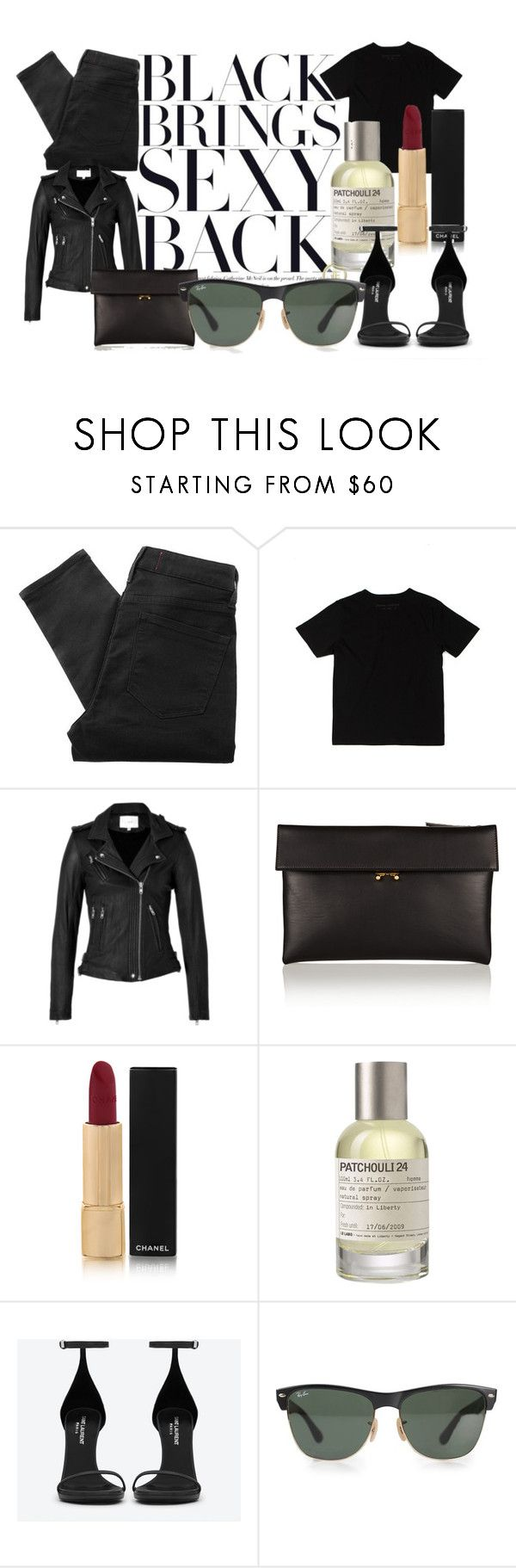 Black brings sexy back by sally-w on Polyvore featuring Opening Ceremony, IRO, Marc by Marc Jacobs, Yves Saint Laurent, Marni, Ray-Ban, Chanel, Le Labo, women's clothing and women's fashion