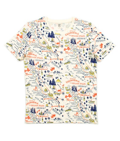 Map Design Short Sleeve(Map of California)