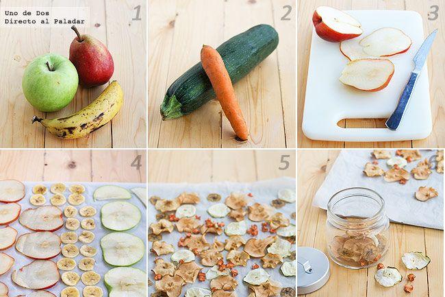 Chips de frutas y verduras •1 zanahoria, 1/2 calabacín, 1 manzana, 1 pera, 1 banana