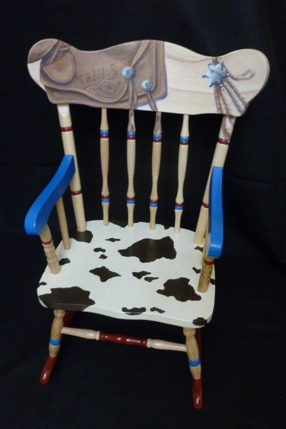 Childs hand painted western rocking chair by LaraEveDesigns, 269.00