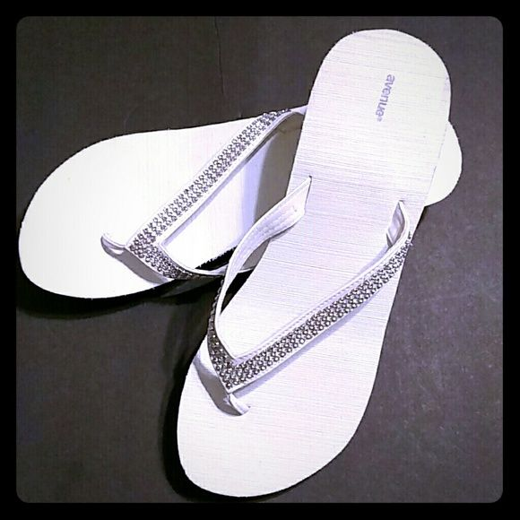 SPARKLY White Flip Flop Wedges If you're looking for bling....here it is! These white wedge flip flop sandals are adorned with super sparkle! All man made materials. NWOT Avenue Shoes Sandals