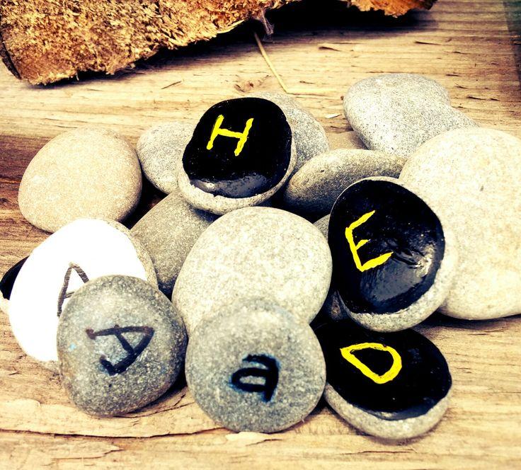 Sticks and Stones (Canada)- Reggio inspired,  nature repurposed -alphabet stones