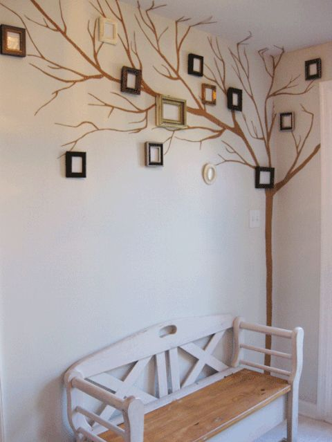 Painted Gallery Wall: Simply paint the stump and branches on a wall and add frames for family photos.