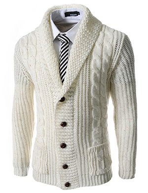 (FFC17-IVORY) Slim Fit Shawl Collar 5 Button Knitted Cardigan