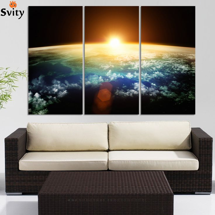 3pcs Earth Map From the Space ,Large Modern Canvas Oil Painting Wall Art ,Free Shipping Worldwide simulation oil painting #Affiliate