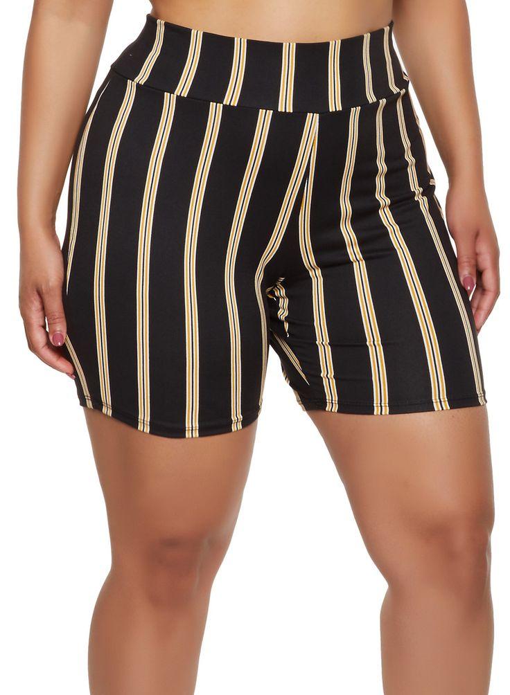 Plus Size Multi Stripe Bike Shorts – Black – Size 3X