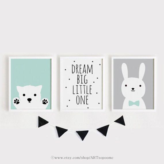 Printable pépinière Art lot de 3 chambre affiche art mural enfants chambre menthe gris noir chiot, Dream big little one, ensemble imprimé lapin