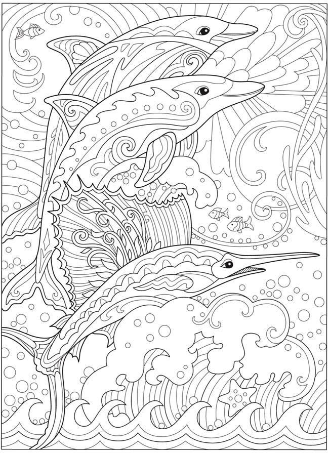 creative haven fanciful sea life coloring book (dolphines and swordfish)