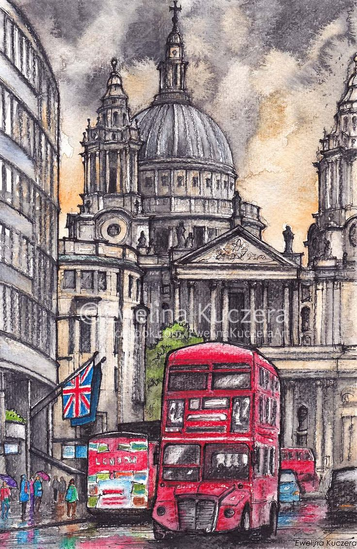 London Ink & watercolor pencils illustration