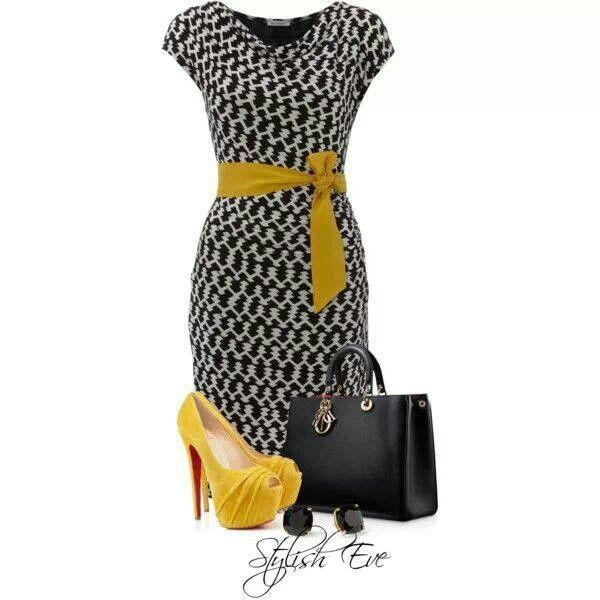 Yellow block dots dress