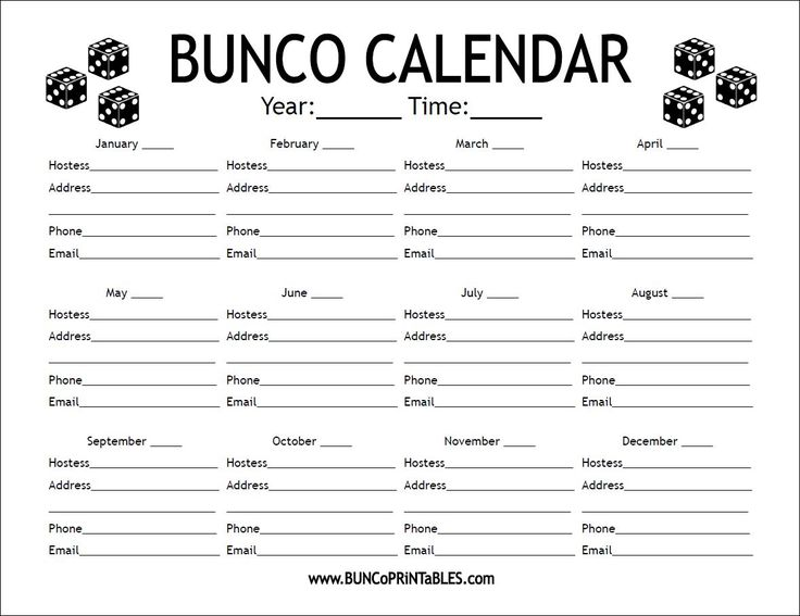 Bunco Calendar - Get it FREE at www.BuncoPrintables.com!
