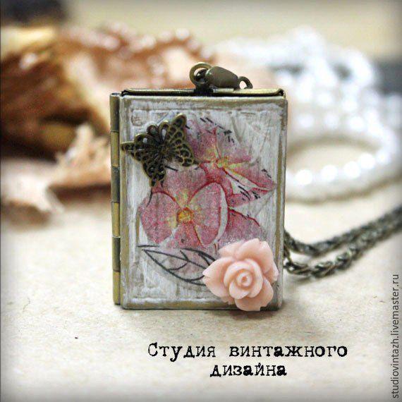 """Купить Медальон для фото """"Шебби-лето"""" - медальон, медальон для фотографии, медальон с секретом, медальон для фото"""