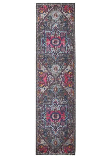 Make your hallway come to life with the Menhit Grey Multi Coloured Transitional Patterned Runner Rug
