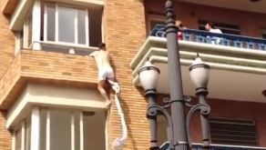 Husband caught cheating wife as her boyfriend makes his escape  Caught on tape: Half naked boyfriend jumping from the apartment window in Brazil