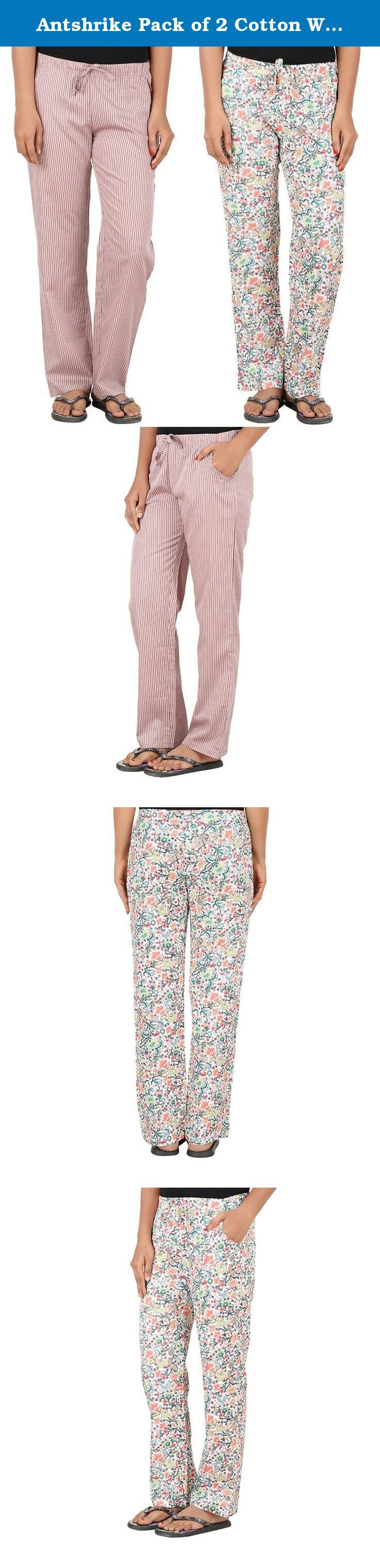 Antshrike Pack of 2 Cotton Woven Women Pyjama Nightwear Pant. Asspee group presents combos of women nightwear pyjamas pant which is made of 100% cotton. This latest collection contains stripes, checked and Flora prints patterns. This are comfortable to use as nightwear.
