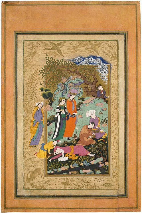 Convivial Party by Riza-i Abbasi | Gouache and gold, 26.2 x 16.5 cm | Iran, 1612, Safavid Dynasty