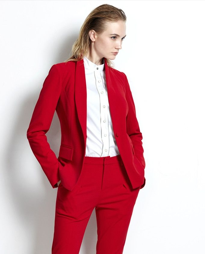 Hot Selling Shawl Collar Custome Made Women New Arrival High Quality One Button Red Business Suits Au Womens Business Pants Suits For Women Elegant Pants Suits