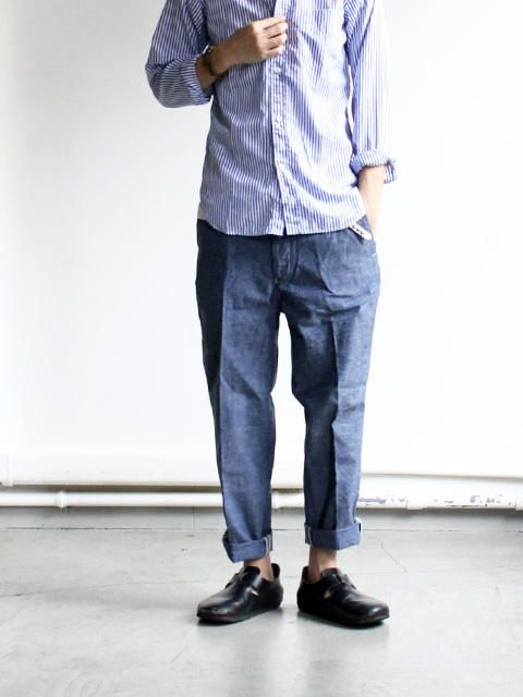 A VONTADE Tapered Cropped Trousers - Recycle Nepped Chambray