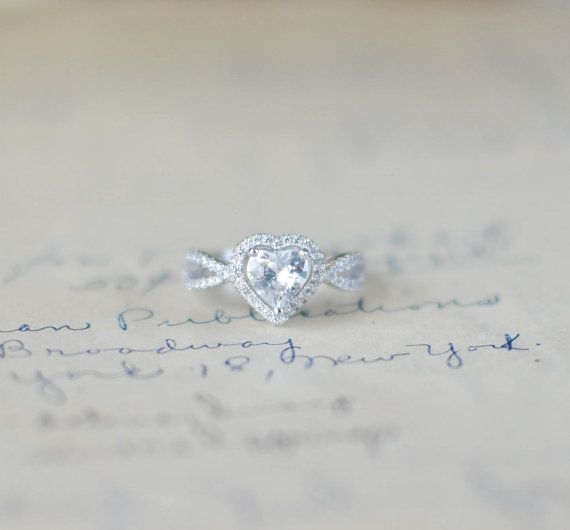 SALE - Heart Promise Ring - Halo Ring - Engagement Ring - Wedding Ring -  Heart  Jewelry - Sterling Silver - Valentines Day
