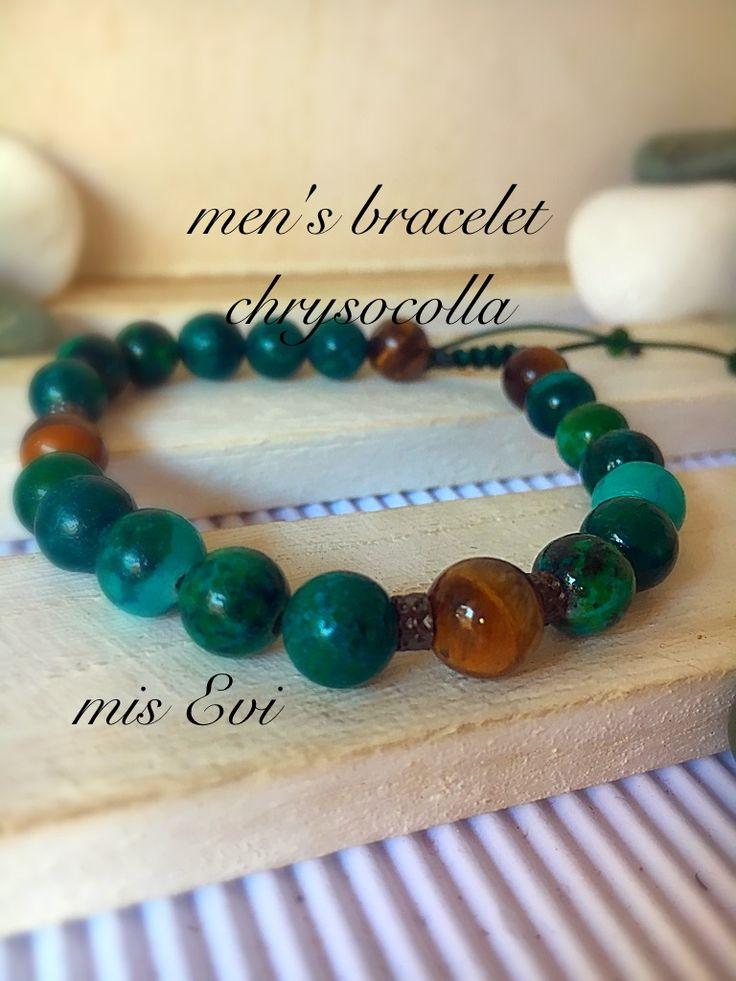 Men's bracelet handmade chrysocolla