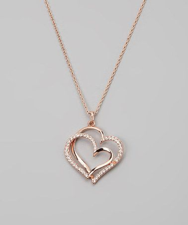 Take a look at this Rose Gold & SWAROVSKI ELEMENTS Double Heart Necklace by Queen Jewelers on #zulily today!