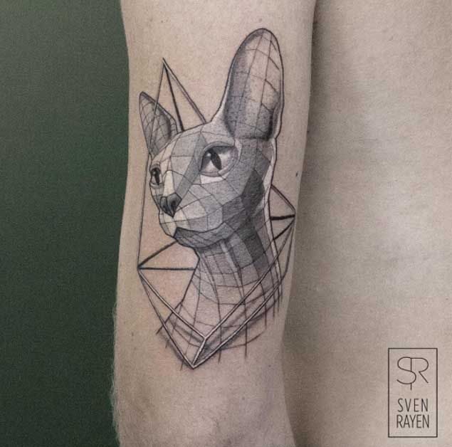 Geometric Low Poly Cat Tattoo