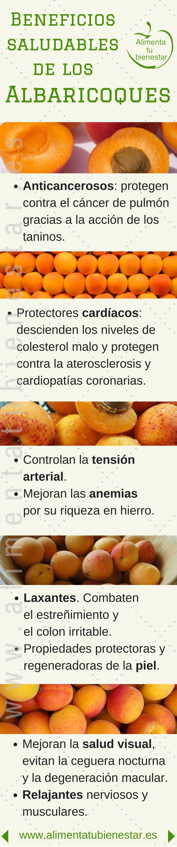 #Infografia Beneficios para la salud de los albaricoques #alimentatubienestar