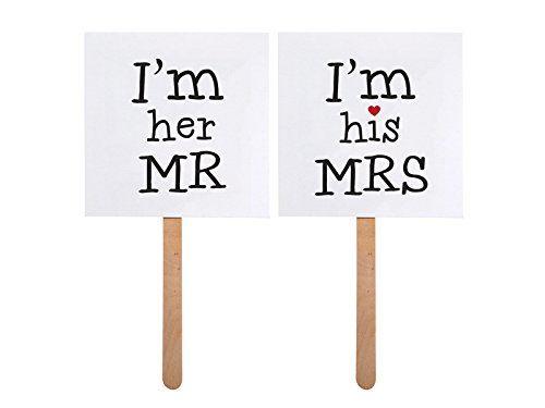 """Foto-Zubehör Requisiten Hochzeit Lustige Schilder """"I'm her MR"""" und """"I'm his MRS"""""""
