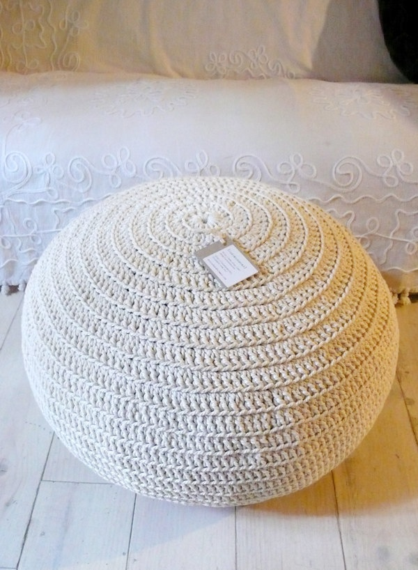 hand-crocheted cotton pouf