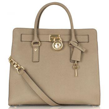 Michael Kors Taupe Saffiano Women's Hamilton Tote Bag