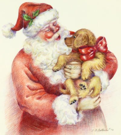 Santa's Puppy is a colored pencil drawing