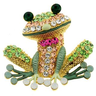 @Overstock.com - Goldtone Multi-colored Crystal Frog Brooch - A whimsical addition to your favorite casual outfit, this colorful crystal brooch features a sparkling frog that will inspire happiness and conversation wherever you go. It has 77 inlaid Swarovski crystals, which add sparkle and shine to the design.  http://www.overstock.com/Jewelry-Watches/Goldtone-Multi-colored-Crystal-Frog-Brooch/8016103/product.html?CID=214117 $20.99