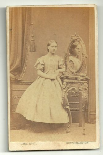 Victorian-cdv-photo-young-woman-standing-by-mirror-Wolverhampton-photographer