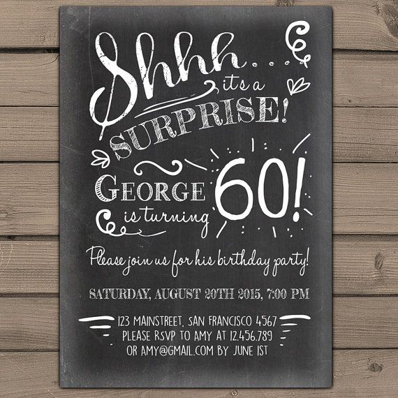 Surprise 60th Birthday Invitation Chalkboard By Anietillustration