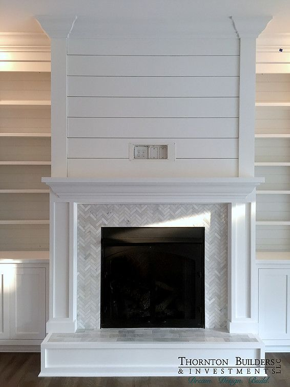 Shiplap And Marble Fireplace Surround With White Built In Cabinets Home Fireplace Fireplace Remodel Fireplace Design
