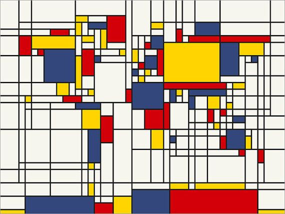 Map of the World Map in the style of Piet Mondrian. Piet Mondrian became famous because of his shapes in art.