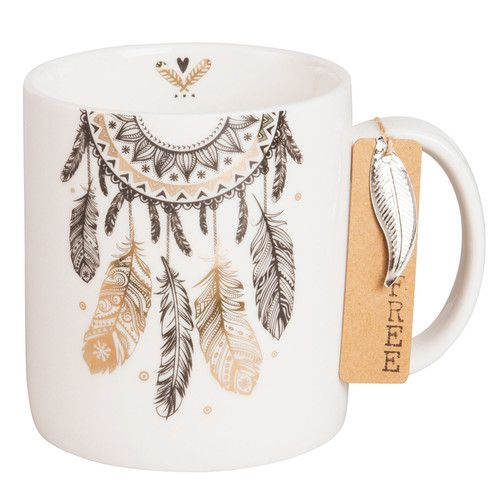 Mug attrape-rêves en porcelaine blanche