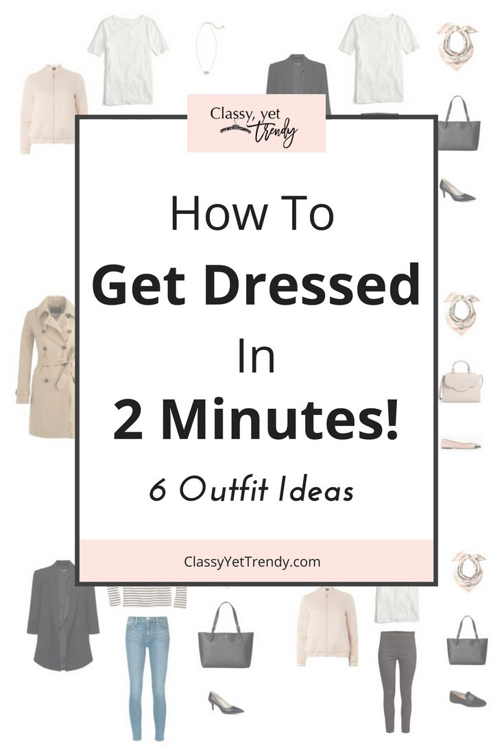 Find out how you can get dressed everyday in 2 minutes!  Just by using this method, you can eliminate stress and get dressed quickly, love what you wear and look great everyday.  Your closet will have clothes that can make several outfits.  Use this method during spring, summer, fall and winter.  6 outfit ideas are included!