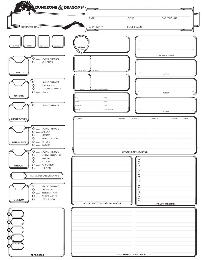 dungeons  u0026 dragons 5th edition character sheet