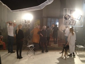On set with a bunch of talents...
